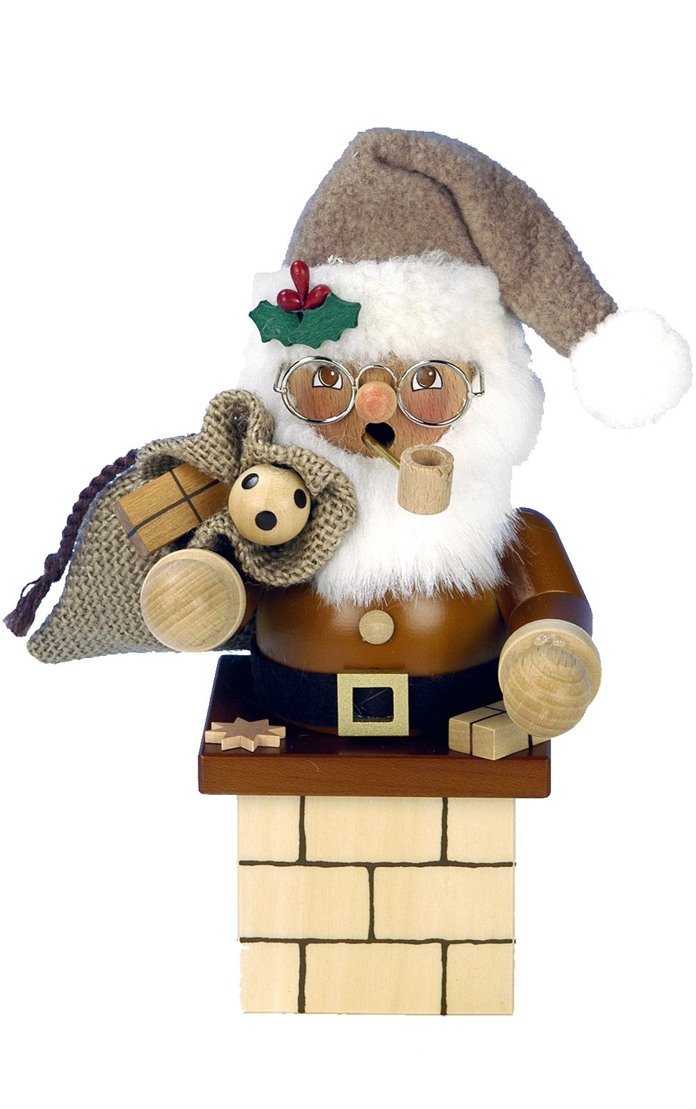 Smoking Men Santa Chimney Natural My German Christmas